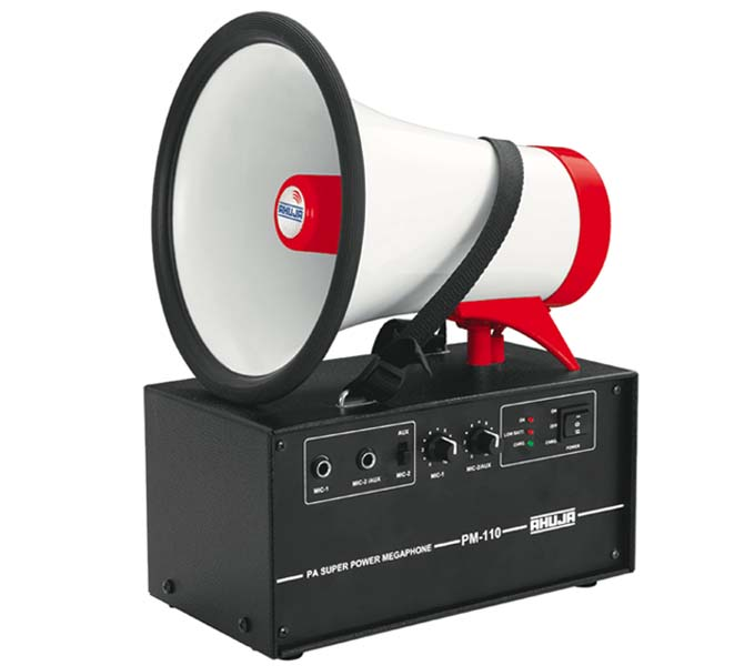 PA SUPER POWER MEGAPHONE WITH BUILT-IN RECHARGEABLE BATTERY – PM-110