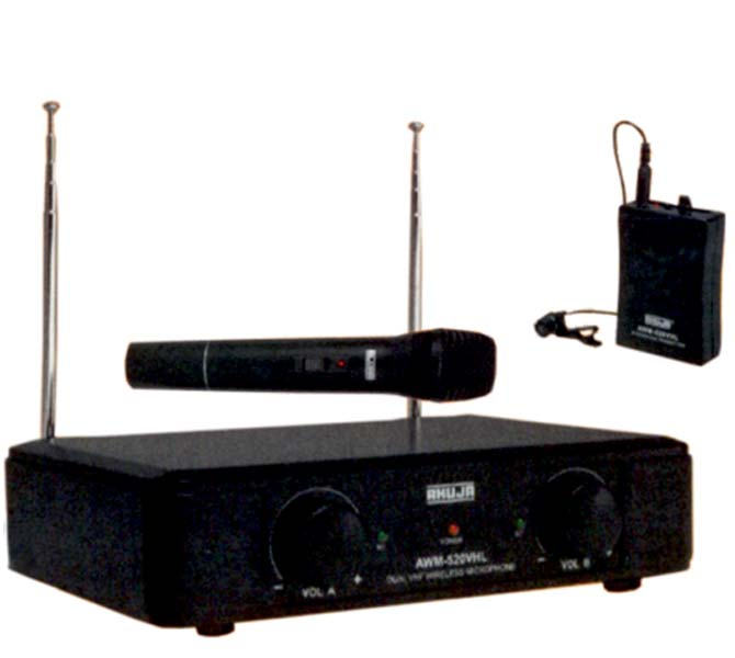 DUAL CHANNEL VHF RECEIVER 1 X HANDHELD MICROPHONE & 1 X TIE-CLIP MICROPHONE - AWM-520VHL