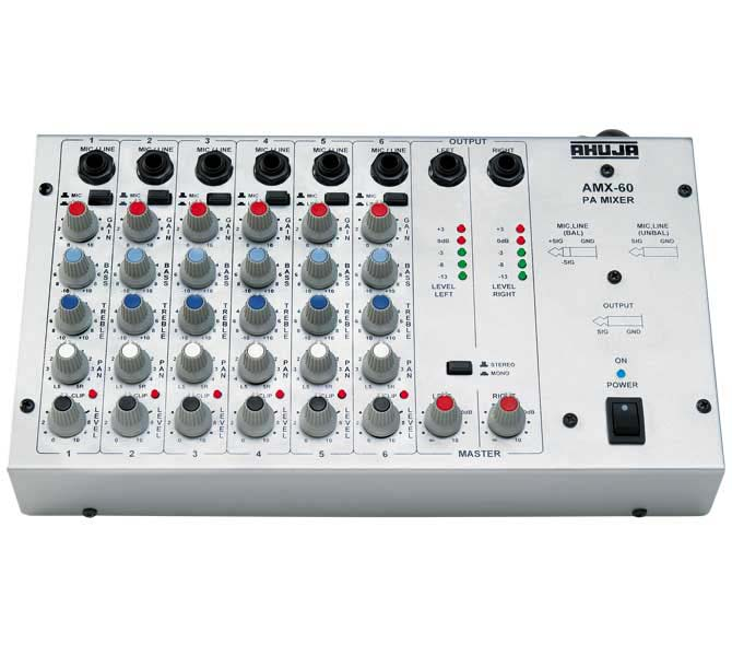 PA Audio Mixer - 6 Channel - AMX60