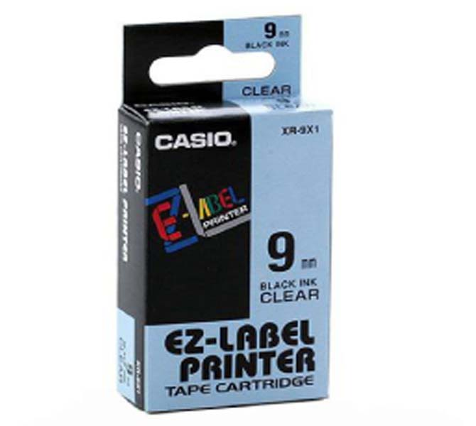 LABLE PRINTER TAPE CARTRIDGE BLACK INK CLEAR - XR-9X1