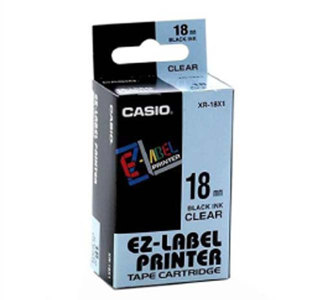 LABLE PRINTER TAPE CARTRIDGE BLACK INK CLEAR -XR-18X1-WDJ