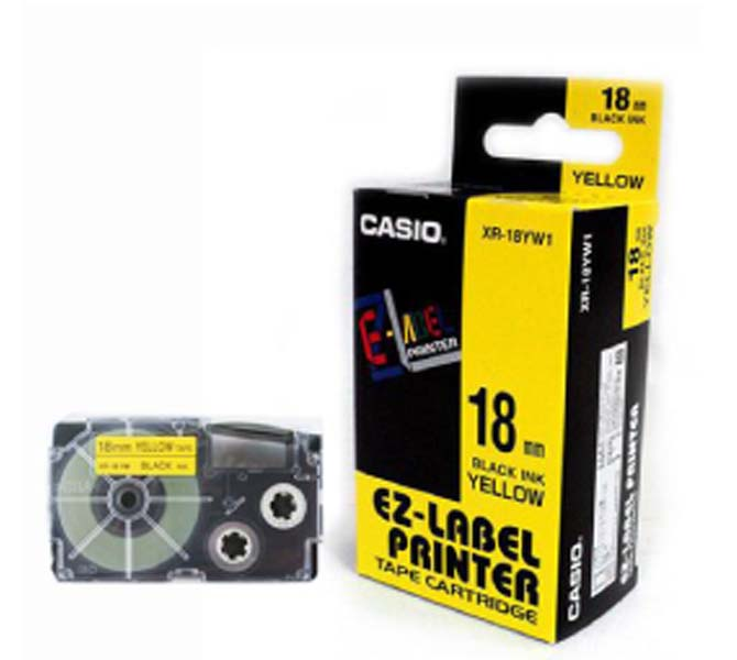 LABLE PRINTER TAPE CARTRIDGE BLACK INK YELLOW - XR-18YW1-WDJ