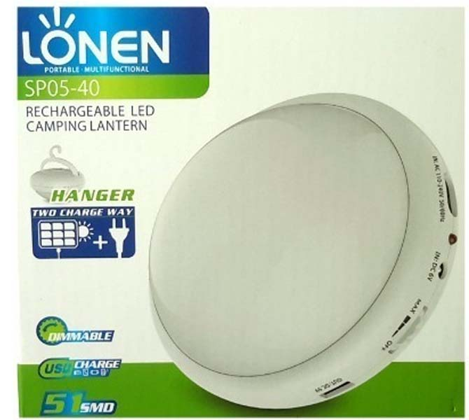 LONEN RECHARGEABLE LED CAMPING LANTERN - SP05-40