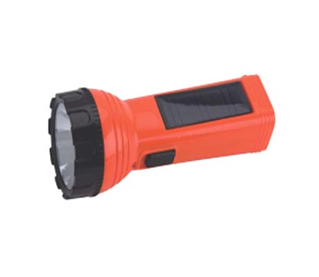 RE-CHARGEABLE TORCH 1W LED TORCH WITH SOLAR PANEL - WD-513S